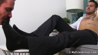 Dante Colle gets his socked feet sniffed