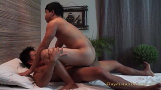 Horny Asian Massage Boys fucking on the table