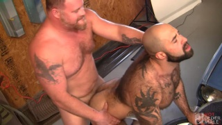 horny daddy mechanic fucks a handsome muscle bear