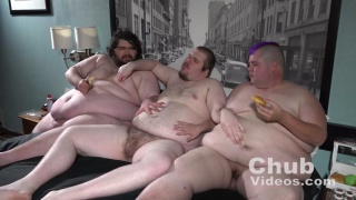 three chubs have a horny threeway with food