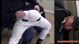 straight baseball player get the attitude spanked out of him