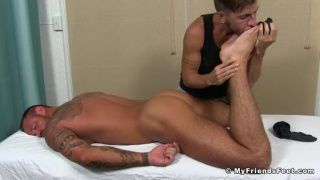justin case worships Michael Roman's feet