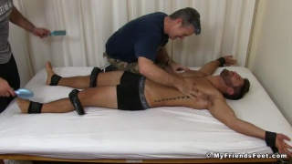 Blayne strapped down and tickled