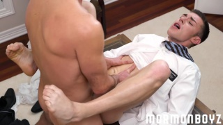 young mormon missionary worships older man's cock