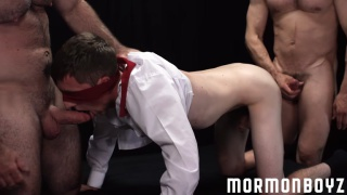 mormon lad gets spit-roast fucked by two men
