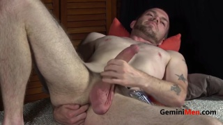 hung Drake Hollister strokes his long dick
