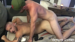 furry cub owns this bottom's ass with his cock, fist and dildo