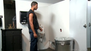 leather man trolling for dick at the glory hole
