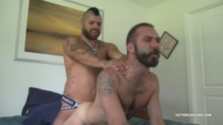 latin daddy shoves his boy down on his fat cock