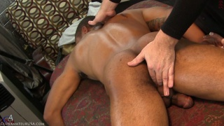 black hunk gets his beefy ass fingered during handjob