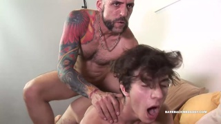 inked daddy gives his boy a brutal fucking