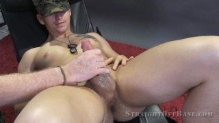 Corporal Casper gets help with his stiff cock