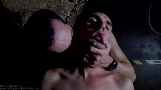 New gay slave takes two dom cocks