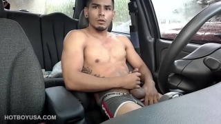 Damian Fox jerks off in front seat of his car