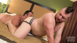 beefy cub in jockstrap gets butt fucked