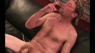 scruffy country boy jerks his hairy cock