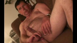 45-year-old straight man Raymond jacks his cock