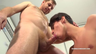 daddy presents his dick for this boy to suck on