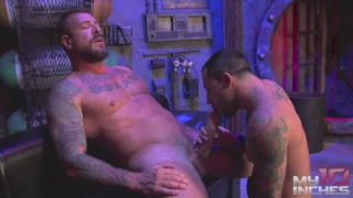 Rocco Steele stretches Nick Cross tight hole with his monster cock