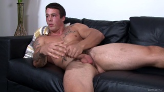 sexy beefcake guy ty plays with his thick cock