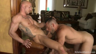 two hunks hook up after their work shift
