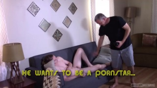 smooth 19 year-old strokes his rock-hard cock