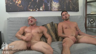 Cesar Rossi fucks around with hot bespectacled bald hunk