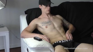 aussie lifeguard Callum jerks his cock