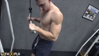 Roman Tate works out and jerks off