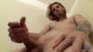 blond straight guy Kenneth Slayer jerks off