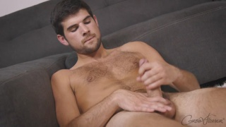 sexy scruffy guy Conrad strokes his dick