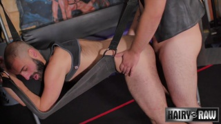Alezgi Cage and Aries Steele fuck in a sling