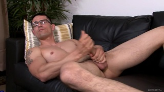 Woody Johnson double-fists his big cock