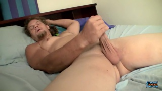 big straight muscle boy plays with a fleshjack