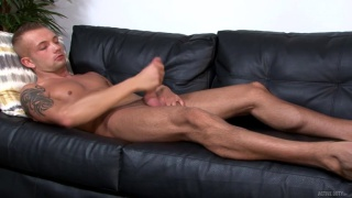Leo Wyatt strokes his large cock