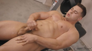 muscled guy Marcus with big chest and arms jerks off