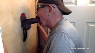 8 Inches Of Fat black Cock at the glory hole