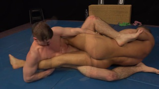 Martin Hover and Adam Kader wrestle and swap blowjobs