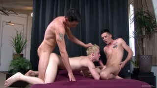 twin brothers Michael Stax & Jacob Stax fuck a blond guy