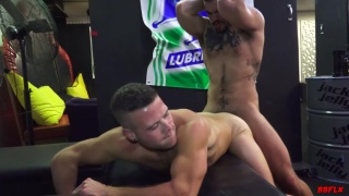 Aarin Asker on his knees getting face fucked