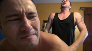 beefy white guy gets his hole wrecked by latino cock