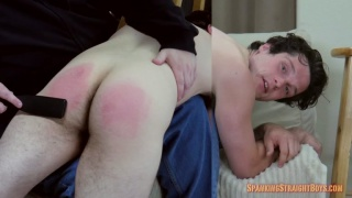 21-year-old straight boy gets his butt spanked