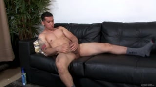 beefy muscle guy RJ strokes his big cock