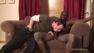 white guy takes care of a huge black dick