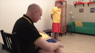 two guys get spanked one after the other