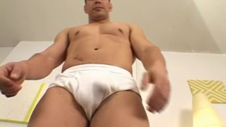 Sandro strips out of his white underwear briefs