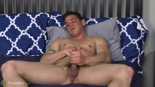 ripped newcomer Michael Shores jerks his cock