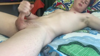 Sasha Harris strokes his long dick